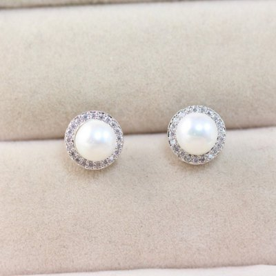 Pair of Chic Faux Pearl Rhinestone Round Earrings For Women
