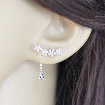 Pair of Stylish Chic Rhinestone Flower Drop Pendant Earrings For Women