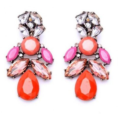 Pair of Alloy Faux Gem Decorated Water Drop Shape Earrings
