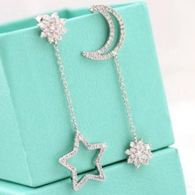 Pair of Characteristic Rhinestone Embellished Moon and Star Shape Asymmetric Earrings For Women