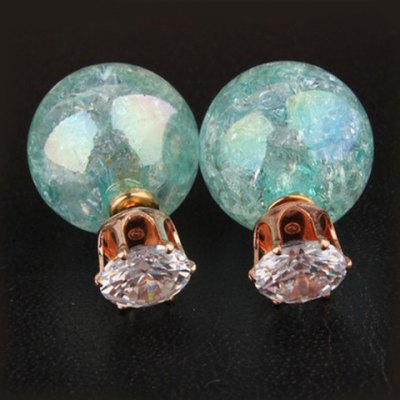 Pair of Sparking Retro Style Rhinestone Embellished Round Shape Earrings For Women