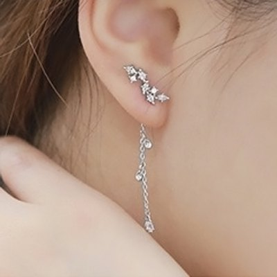 Pair of Delicate Leaf Rhinestone Decorated Earrings For Women