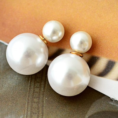 Pair of Double End Faux Pearl Decorated Stud Earrings