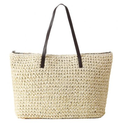 Simple Style Splicing and Knitting Design Women's Shoulder Bag