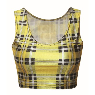 Fashionable Scoop Collar Sleeveless Plaid Women's Tank Top
