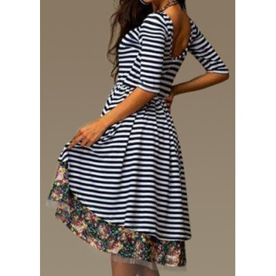 Stylish Round Collar 3/4 Sleeve Striped Floral Print Asymmetrical Women's Dress