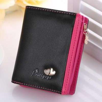 Sweet Color Block and Hearts Design Women's Wallet