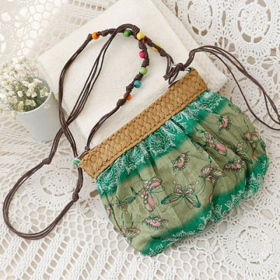 National Style Weaving and Floral Print Design Women's Crossbody Bag
