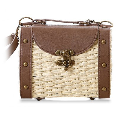 Retro Weaving and Rivets Design Women's Splice Shoulder Bag