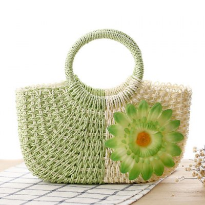 Sweet Flower and Weaving Design Color Block Women's Tote Bag