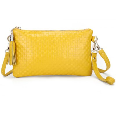 Trendy Checked and Tassels Design Women's Clutch Bag