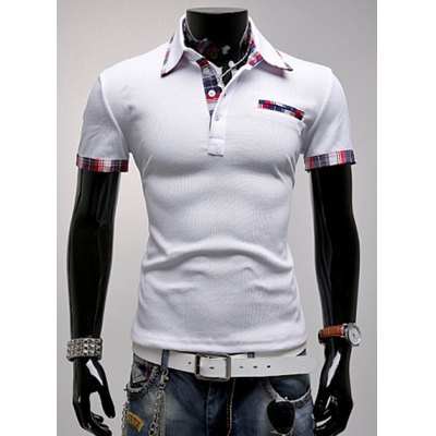 Fashion Turndown Collar Slimming Color Block Checked Splicing Short Sleeve Polyester Polo T-Shirt For Men