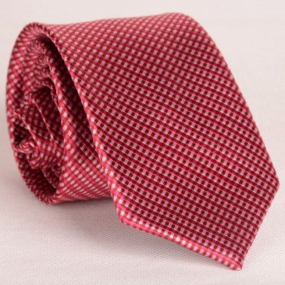 Full Tiny Red Plaid Pattern Thin Neck Tie