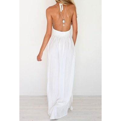 Sexy Halter Hollow Out Spliced Maxi Dress For Women