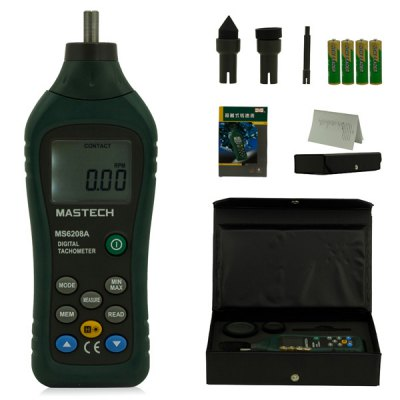 MASTECH MS6208A Multi - functional Contact Digital Tachometer 50RPM  -  19999RPM for Industrial / Agriculture