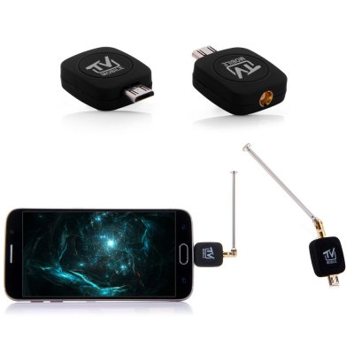 Micro USB DVB - T TV Tuner Receiver for Android Smartphone Tablet PCTV Box &amp; Mini PC<br>Micro USB DVB - T TV Tuner Receiver for Android Smartphone Tablet PC<br><br>Product weight: 0.015 kg<br>Package weight: 0.113 kg<br>Product size (L x W x H): 2.70 x 1.80 x 1.70 cm / 1.06 x 0.71 x 0.67 inches<br>Package size (L x W x H): 8.50 x 9.00 x 3.00 cm / 3.35 x 3.54 x 1.18 inches<br>Package Contents: 1 x Micro USB TV Stick, 1 x CD, 1 x Antenna