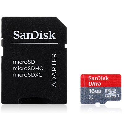 SanDisk Ultra microSDHC UHS - I 16GB High Speed 80MB/s Class 10 SD Memory Card + Adapter