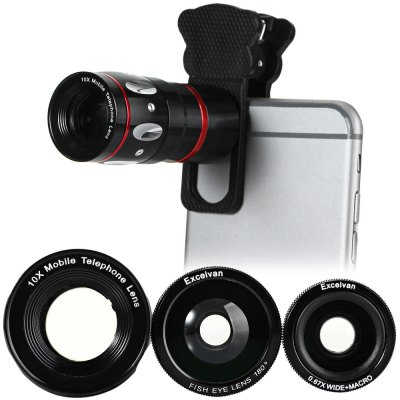 Excelvan Fashionable 4 in 1 Cat Style Clamp Camera Lens including Fisheye Telephoto Macro and Wide Angle