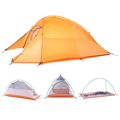 Naturehike NH15T002  -  T Professional Double Layer Camping Water Resistant Tent 190T Nylon Made for 2 PersonsTent<br>Naturehike NH15T002  -  T Professional Double Layer Camping Water Resistant Tent 190T Nylon Made for 2 Persons<br><br>Brand: NatureHike<br>Fits for: Double<br>Package Content: 1 x External Tent, 1 x Iner Tent, 1 x Set of Aluminum Pole, 1 x Set of Tent Peg, 3 x Rope, 1 x Elastic Rope, 1 x Bag<br>Package size: 40.00 x 13.00 x 13.00 cm / 15.75 x 5.12 x 5.12 inches<br>Package weight: 2.0000 kg<br>Product size: 270.00 x 125.00 x 100.00 cm / 106.3 x 49.21 x 39.37 inches<br>Product weight: 1.5000 kg<br>Seasons: Spring,Summer<br>Structure: Bilayer<br>Type: Manual Tent
