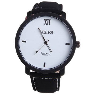 Miler A828502 Contracted Wristwatch Nubuck Leather Strap Male Quartz Watch