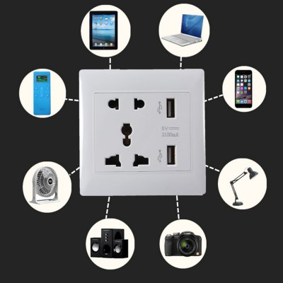 Dual USB Ports Universal Wall Socket Flame - resistant PC Shell Adapter от GearBest.com INT