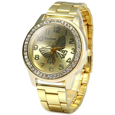 Kanima Butterfly Face Ladies Golden Color Quartz Watch with Luxury Diamond Bezel