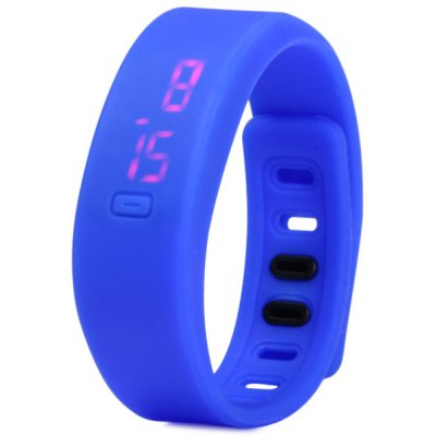 HZ55 Date Display LED Sports Watch with Red Digital Rectangle Dial Rubber Band