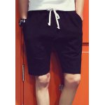 Buy Sports Style Lace-Up Slimming Personality Splicing Solid Color Straight Leg Men's Shorts XL BLACK