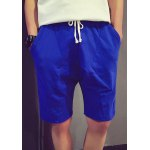 Buy Sports Style Lace-Up Slimming Personality Splicing Solid Color Straight Leg Men's Shorts M BLUE