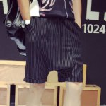 Buy Casual Loose Fit Lace-Up Stripes Print Crimping Straight Leg Men's Cotton Blend Shorts L BLACK