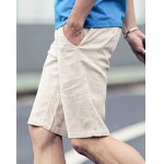 Buy Laconic Loose Fit Zipper Fly Candy Color Straight Leg Men's Cotton+Linen Shorts 2XL