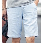 Buy Laconic Loose Fit Zipper Fly Candy Color Straight Leg Men's Cotton+Linen Shorts 2XL AZURE