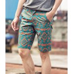 Buy Slimming Zipper Fly Ethnic Print Stripes Crimping Straight Leg Men's Shorts 28 GREEN
