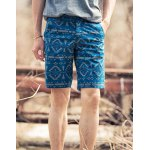 Buy Slimming Zipper Fly Ethnic Print Stripes Crimping Straight Leg Men's Shorts 33 DEEP BLUE