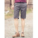 Buy British Style Slimming Zipper Fly Stripes Print Straight Leg Men's Shorts 28 GRAY