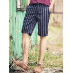Buy British Style Slimming Zipper Fly Stripes Print Straight Leg Men's Shorts 33 DEEP BLUE