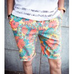 Buy Casual Loose-Fitting Lace-Up Chromatic Floral Print Crimping Straight Leg Men's Shorts 2XL COLORFUL