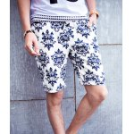 Buy Loose-Fitting Lace-Up Abstract Print Crimping Casual Straight Leg Men's Shorts L