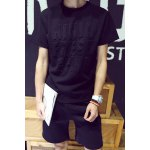 Buy Fashion Loose Fit Round Neck Letters Knurling Solid Color Short Sleeves Men's T-Shirt Suits (Shorts+T-Shirt) M BLACK