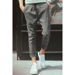 Buy Loose-Fitting Lace-Up Classic Checked Print Straight Leg Men's Nine Minutes Pants 2XL GRAY