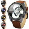 cheap Shiweibao A3130 Nubuck Leather Band Male Dual Movt Quartz Watch with Decorative Sub - dials