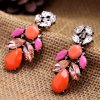 cheap Pair of Alloy Faux Gem Decorated Water Drop Shape Earrings