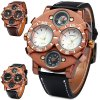 cheap Shiweibao 1109 Bronzed Case Male Dual Movt Quartz Watch with Compass Function