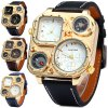 cheap Shiweibao 1108 Cool Rectangle Dial Dual Movt Men Compass Quartz Watch with Decorative Thermometer