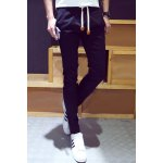 Buy Casual Slimming Lace-Up PU Leather Embellished Solid Color Beam Feet Men's Nine Minutes Pants 30 BLUE