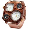 Shiweibao 1108 Bronzed Case Dual Time Male Quartz Watch with Compass Decorative Thermometer