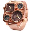 Shiweibao 1108 Bronzed Case Dual Time Male Quartz Watch with Compass Decorative Thermometer deal