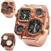 cheap Shiweibao 1108 Bronzed Case Dual Time Male Quartz Watch with Compass Decorative Thermometer