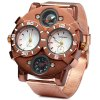 Shiweibao 1109 Bronzed Case Double Movt Quartz Watch Compass Function Male Wristwatch