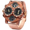 Shiweibao 1109 Bronzed Case Double Movt Quartz Watch Compass Function Male Wristwatch deal